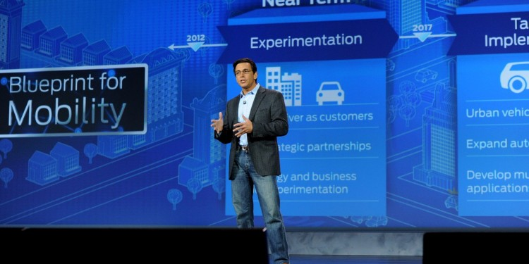 Mark Fields, President and CEO of Ford Motor Company delivering the Ford keynote at CES (2)