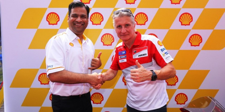 Shell Advance Global Brand Manager Vivek Pareek (L) and Ducati Sporting ...