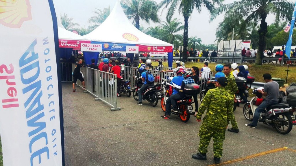 Bikers waiting for their turn for oil change after the 2016 Shell Malays...